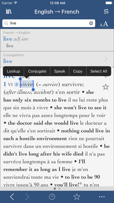 Collins-Robert Concise French Dictionary screenshot four