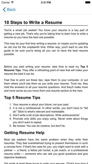 guide to writing the perfect curriculum vitae résumé on the app store