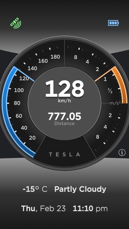 Tesla Dashboard - Speedometer, Acceleration & Brake, Odometer, Weather & Clock