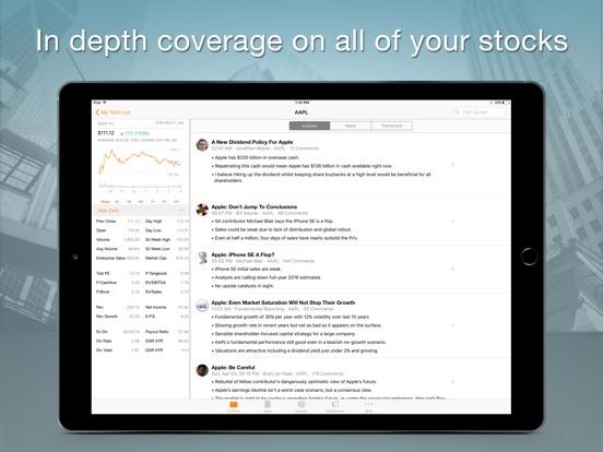 Seeking Alpha Portfolio iPad
