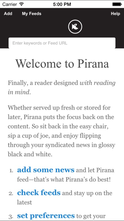 Piranha: the bite-sized RSS news reader