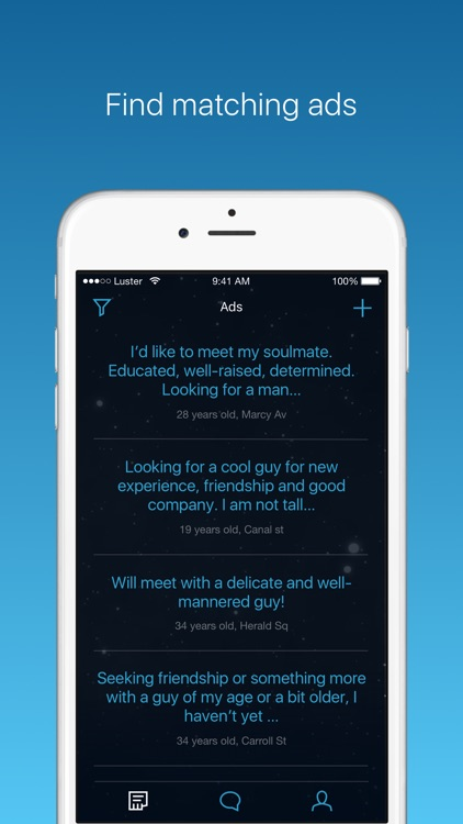 Luster is an app for gay, lesbi and bisexual people
