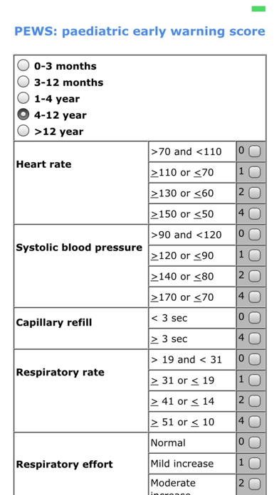 Pediatric scores screenshot two