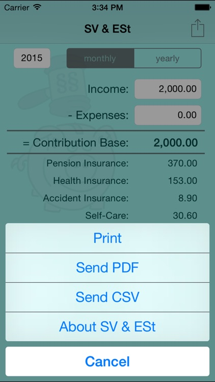 SV & ESt - social security (SVA) and income tax calculator for self-employed people in Austria screenshot-3
