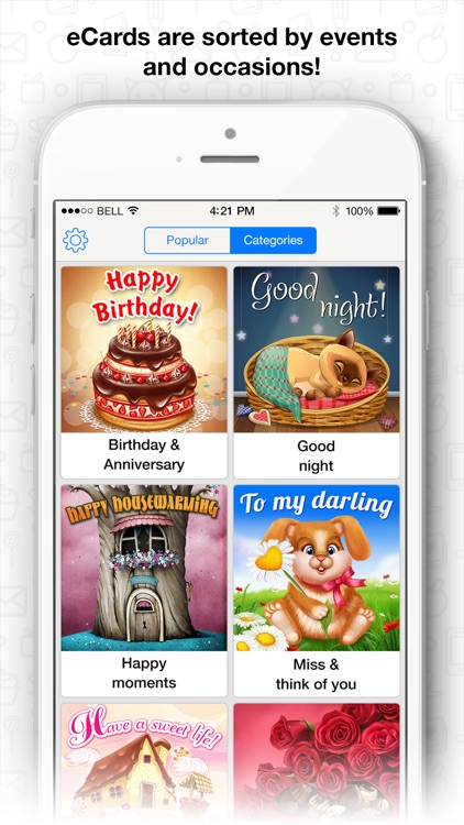 Free greeting cards collection for messengers: Birthday, Party, Holiday, Daily