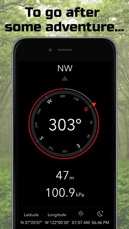 Heading | Compass, Altimeter, Barometer, Location, Sunrise & Sunset screenshot-0
