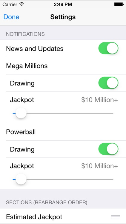 Mega Millions + Powerball - lottery games in the US with winning number results, lotto jackpots and prize payouts screenshot-4
