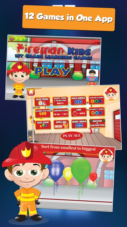 Fire Fighter Kid Goes to School: First Grade Learning Games