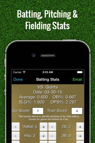 Baseball Stats Tracker Touch screenshot 1