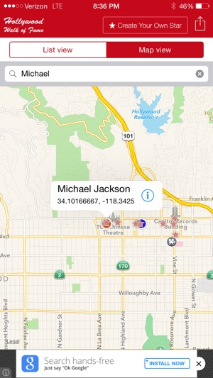 Hollywood Walk Of Fame Stars Map And Star Creator On The App Store - Star map iphone