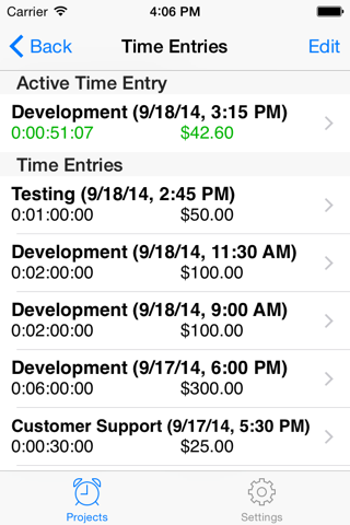 Screenshot of Easy TimeSheet Lite