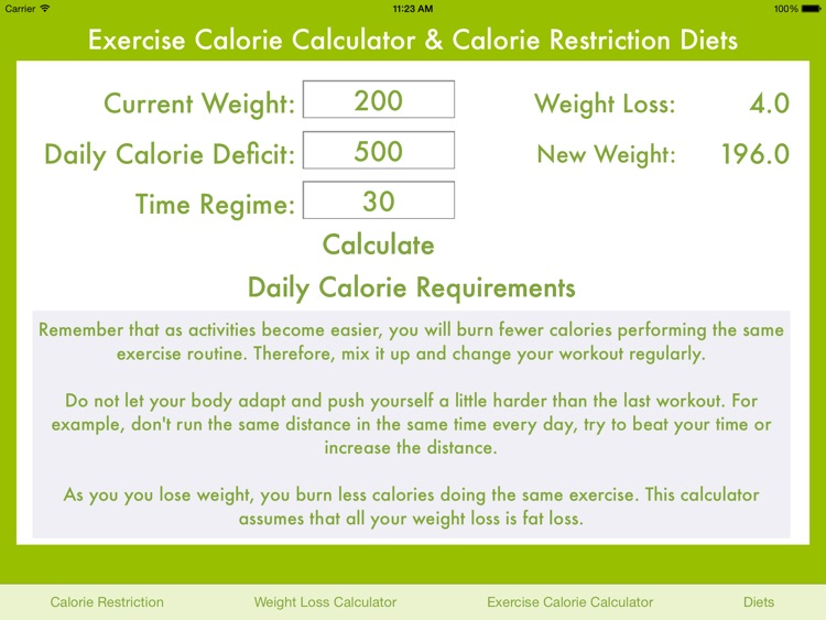 Exercise Calorie Calculator & Calorie Restriction Diets