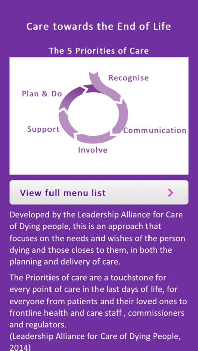 Priorities of Care screenshot one