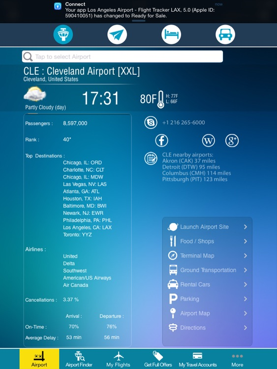 Cleveland Airport + Flight Tracker Premium HD Hopkins CLE screenshot-3