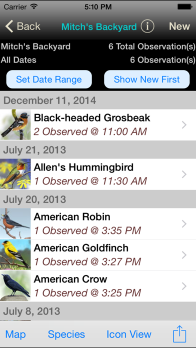 iBird Journal: Listing Birds of North America Screenshot