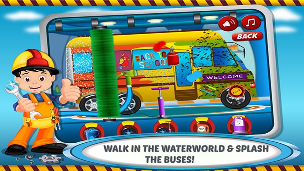 School Bus Wash & Garage – Little Car Salon, Summer Fun with Vehicle Spa Workshop for Paint, Vinyl, Colors, Soap, Clean Automobile Shop Cheat Codes