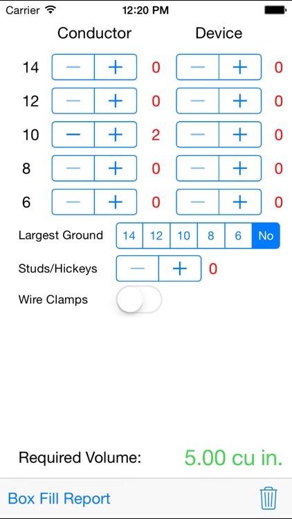 Electrical Box Fill Calculator