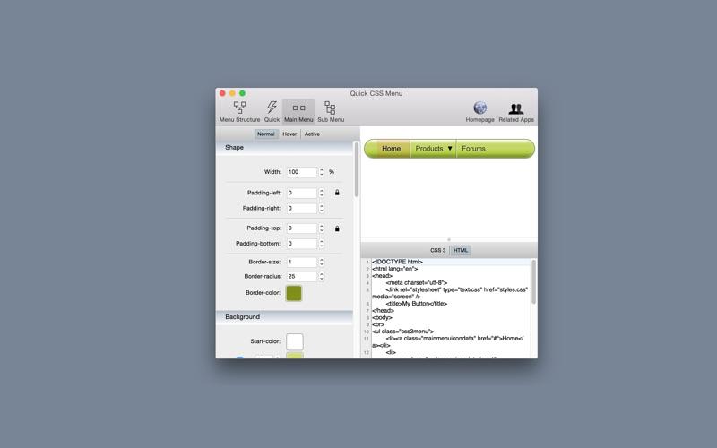 Quick CSS Menu Screenshot