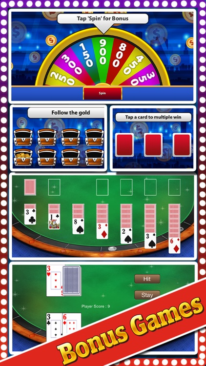 `Lucky Gold Rich Las Vegas Casino Coin Jackpot 777 Slots - Slot Machine with Blackjack, Solitaire, Bonus Prize Wheel screenshot-1