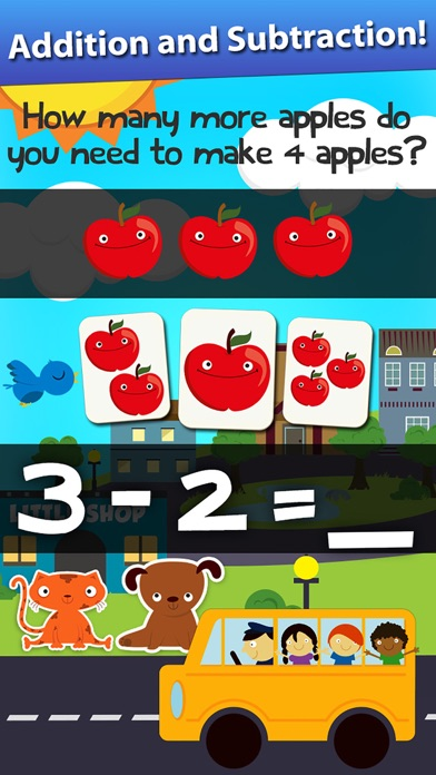 Screenshot #7 for Animal Math Games for Kids in Pre-K, Kindergarten and 1st Grade Learning Numbers, Counting, Addition and Subtraction Premium