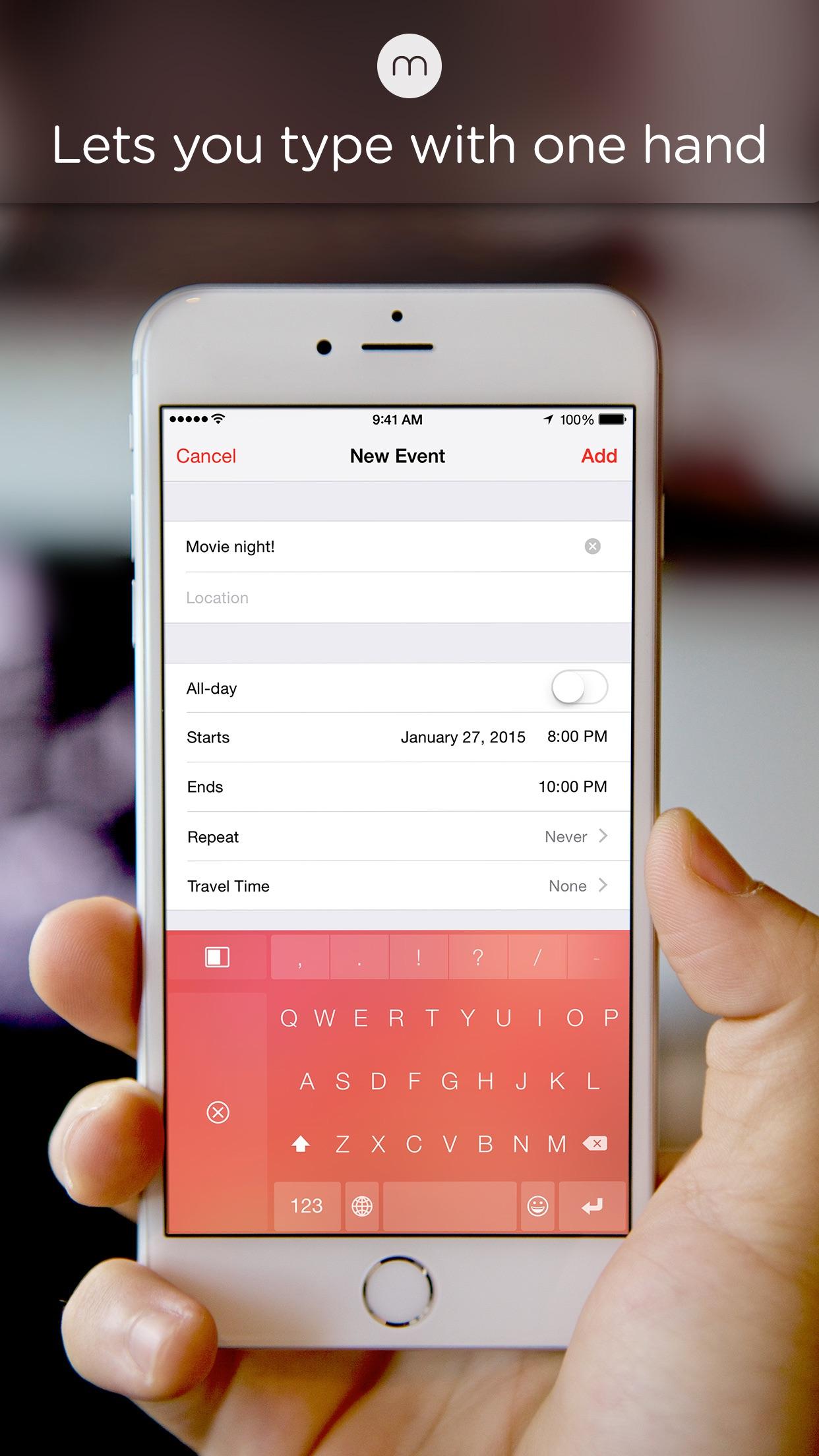 Screenshot do app Minuum - The Little Keyboard for Big Fingers