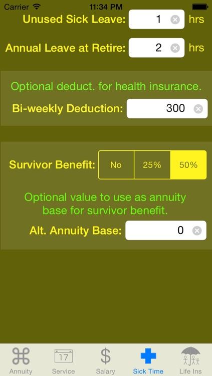 FedCalc FERS and CSRS Annuity Calculator screenshot-3
