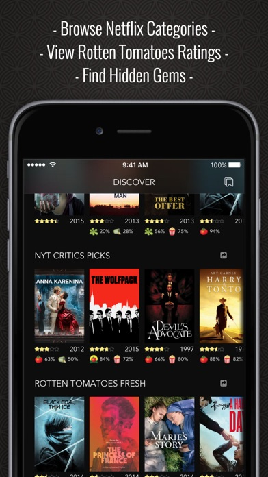 Discover Premium : for Netflix Unlimited with Rotten Tomatoes Ratings and  Queue Pro   App Price Drops