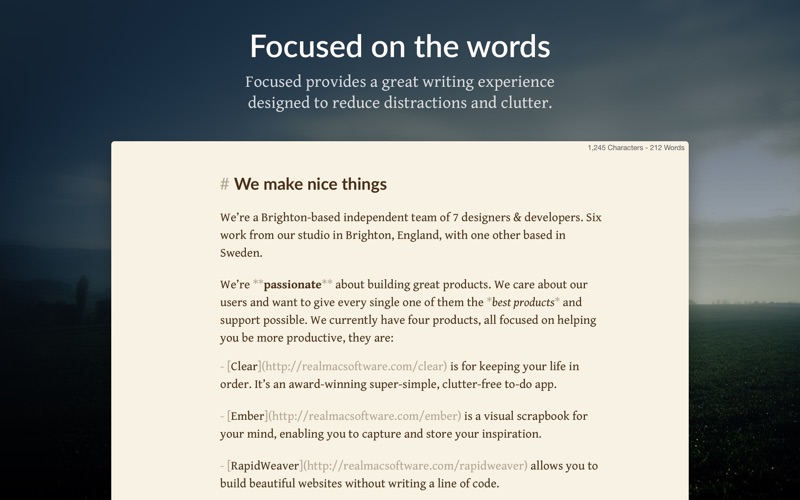 Focused - Minimal Markdown App Screenshot