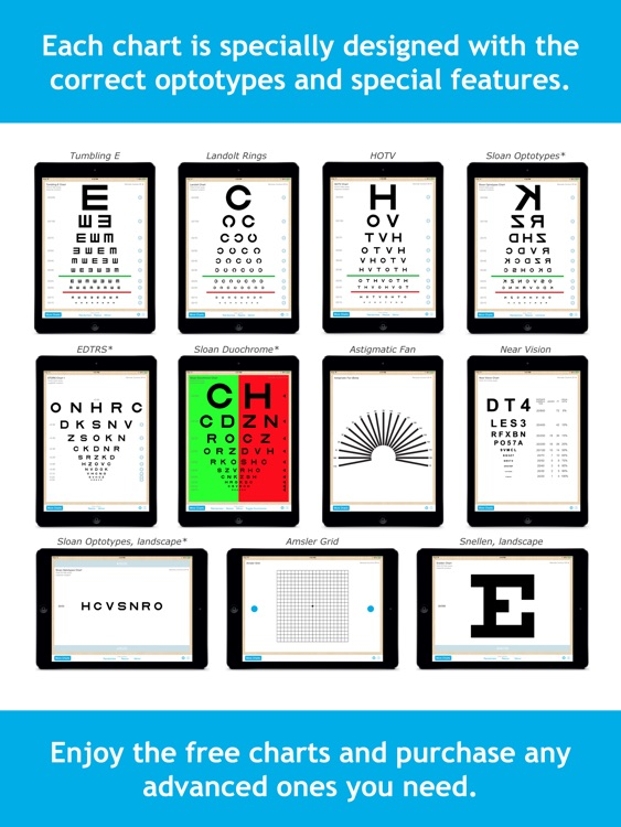 Eye Chart Pro - Test Vision and Visual Acuity better with Snellen, Sloan, ETDRS, and Near Vision Exams!