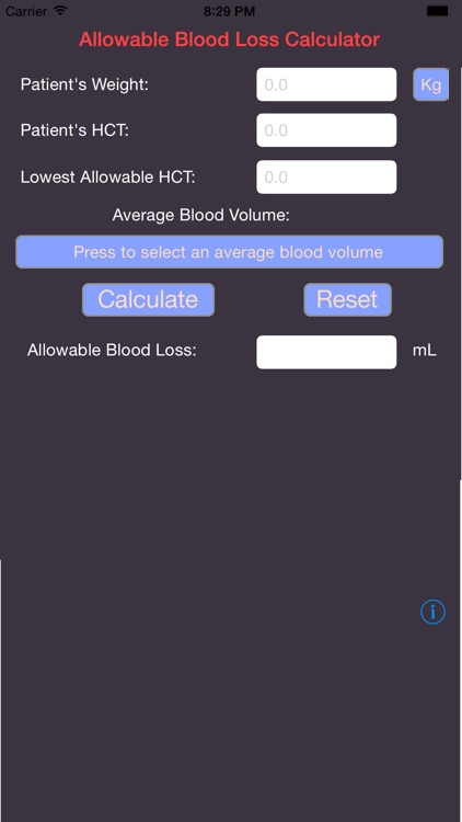 Allowable Blood Loss Calculator