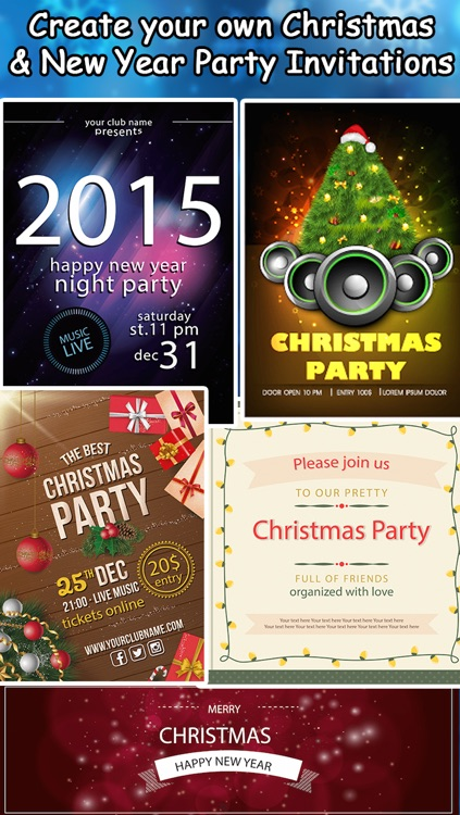 christmas new year party invitations