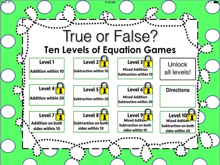 True or False Math Equations Free