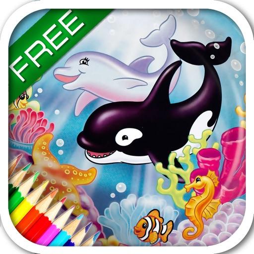 """Детская энциклопедия - раскраска """"Океан"""". Развивающие игры для детей. Раскраски для девочек и мальчиков. Игры для детей. Бесплатная версия."""