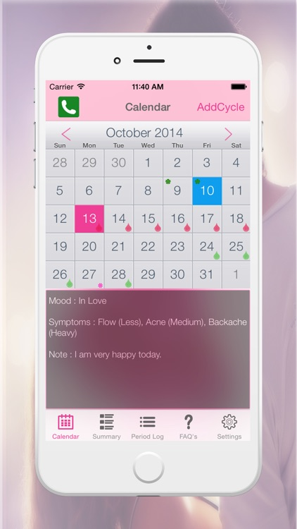 Period Logs Diary - Period Tracker, Menstrual Calendar & Ovulation / Fertility Diary screenshot-1