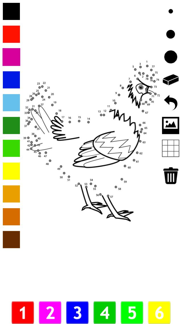子どもたちのための番号でペイント。塗り絵、 動物、鳥、花、ロケットよりのドット、ゲームや演習を接続します。学ぶためのゲームやパズル、塗料や カウントのおすすめ画像4
