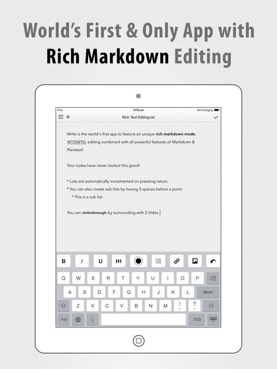 Write for iPad - A Note Taking and Markdown Writing App