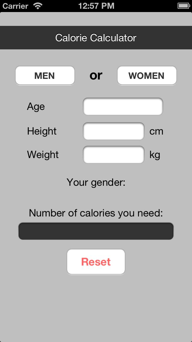 Calorie Counter (BMR) screenshot one