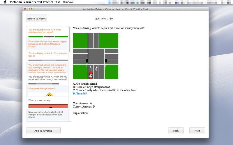 Victorian Learner Permit Practice Test for Mac