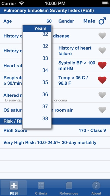 Pulmonary Embolism Severity Index (PESI) screenshot-1