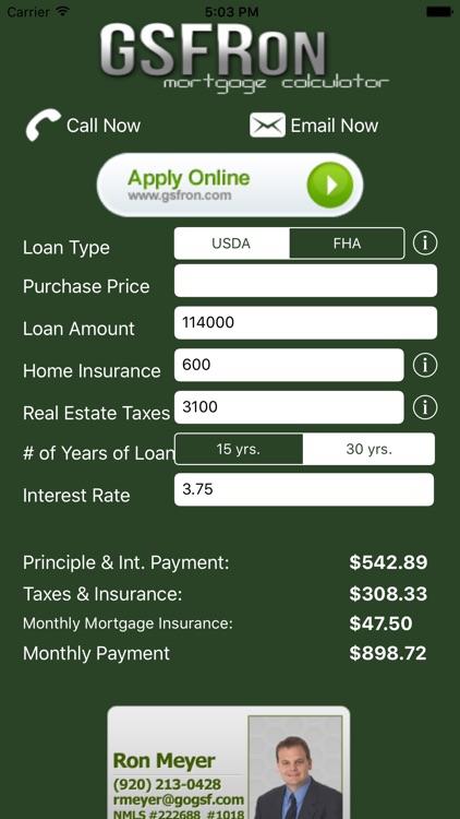 FHA/USDA Mortgage Calculator
