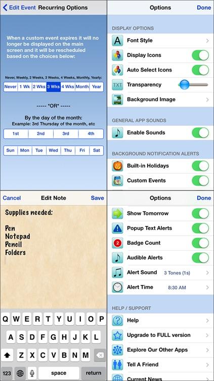 Holiday Countdown LITE - w/Recurring Calendar Events screenshot-4