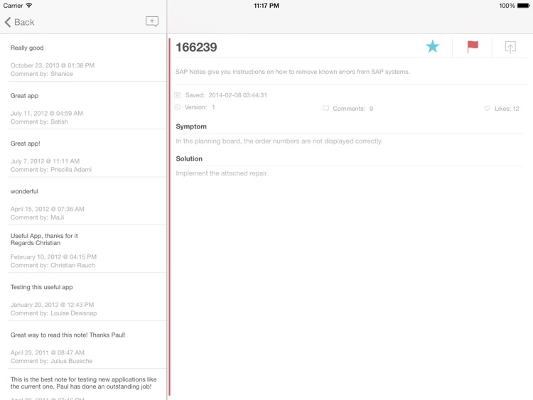 SAP Note Viewer for iPad