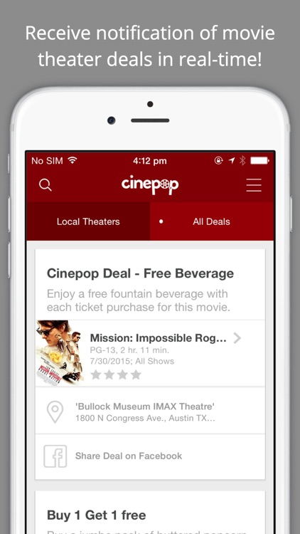 Cinepop - Showtimes, Deals, and Discounts for Movies at Theaters