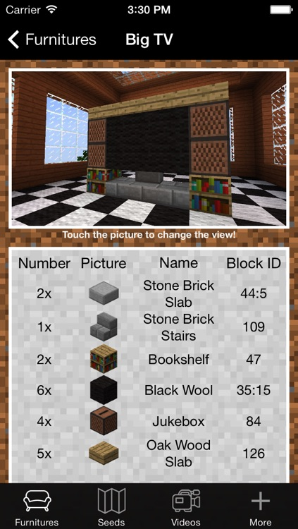 Furniture and Seed Guide for Minecraft