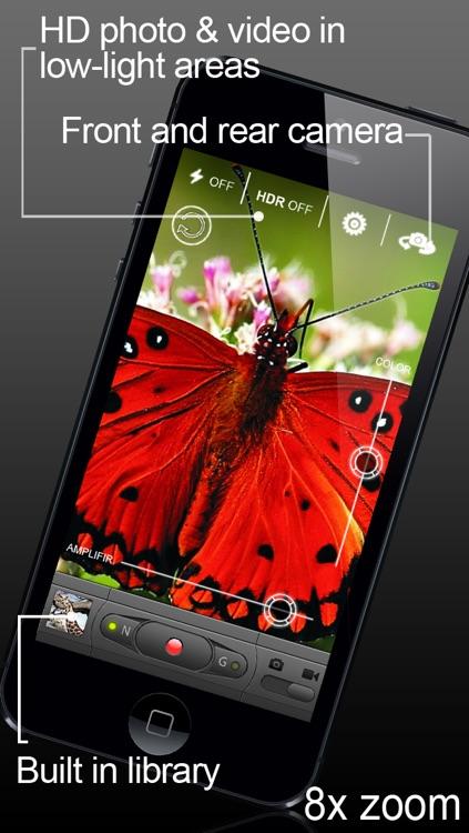 VIDEO HD+ (Video camera with saturation and light amplifier regulation mode) screenshot-3