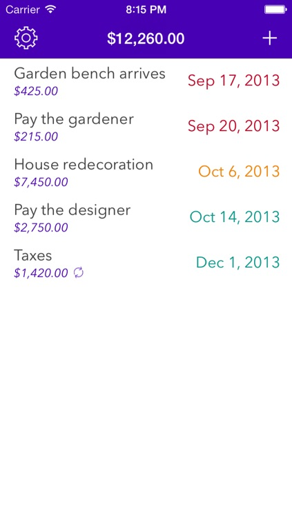 Expenses Planner - Reminders for upcoming payments screenshot-4