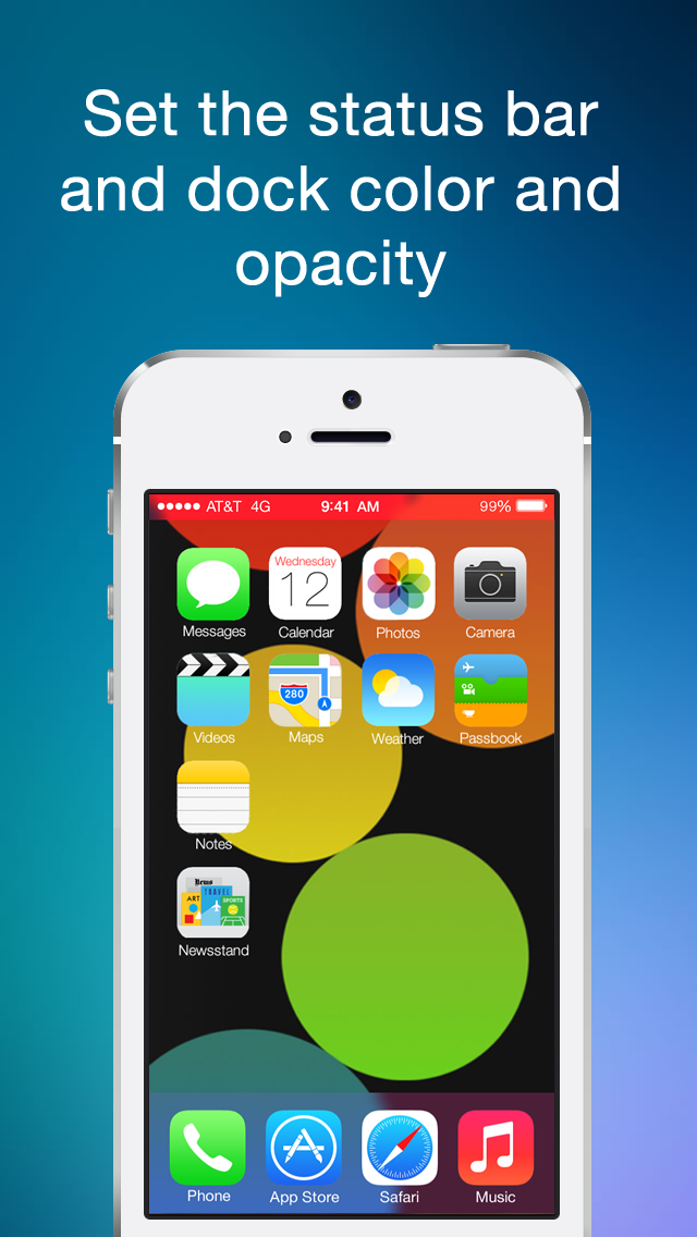 Color Statusbar and dock wallpaper creator with blur screenshot two