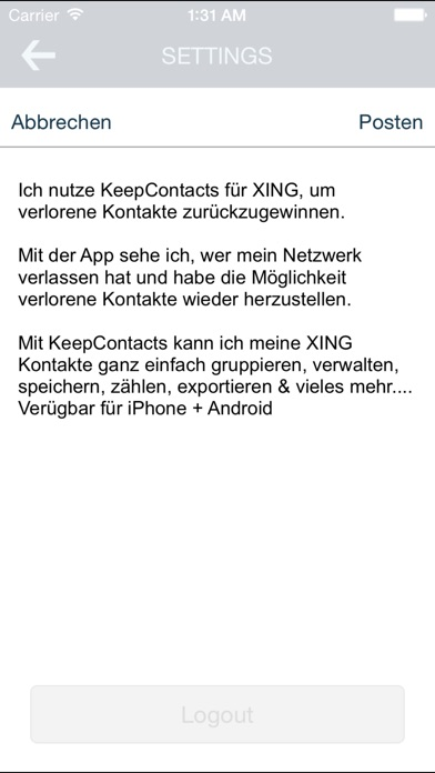 Keep Contacts für XING
