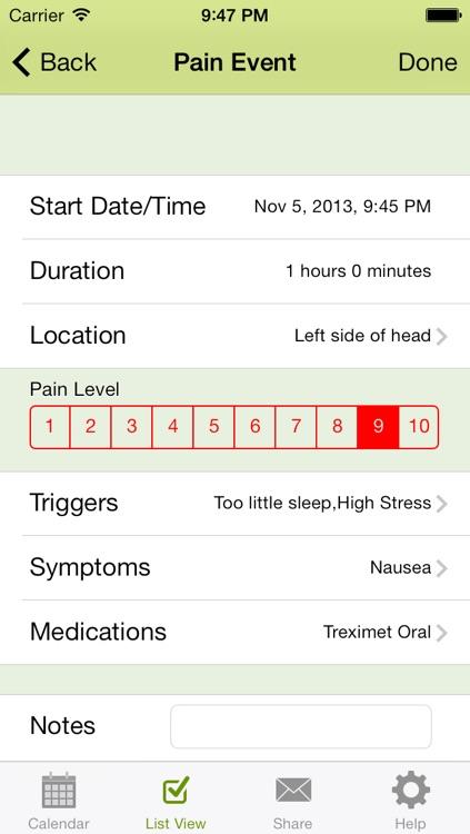 Ouch - Chronic Pain Log, Migraine Diary