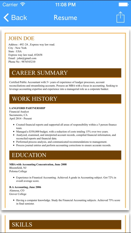 Free Resume Builder App   Professional CV Maker And Resumes Designer
